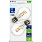 V-tac led GLS filament E27 6Watt helder warm wit 2 stuks