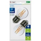 Vtac led kogel filament E27 4Watt helder warm wit 2 stuks